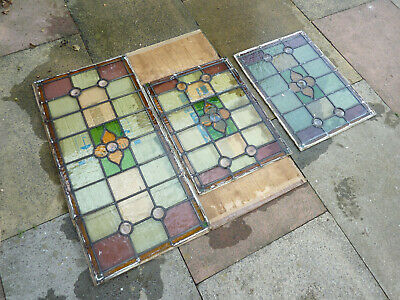 Vintage Original Reclaimed Stained Glass Panel Panels Window From A 1937 House