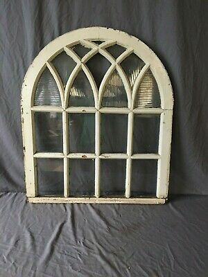 Antique Gothic Half Round Arched Window Sash Shabby Vtg  Chic 33X39 Arch 87-19J