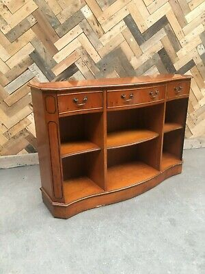 Yew wood bookcase with three drawers and two shelves