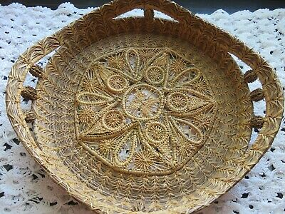 Antique Victorian Woven  Grass BASKET Handles Intricate Spider Web Pattern EXC