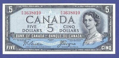 Devil's Face !! Gem Uncirculated 5 Dollars 1954 Banknote From Canada   !!!!!