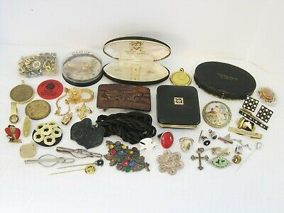 Junk Drawer Lot Silver Advertise Jewelry Cameo Box Military Ring Pin Religion
