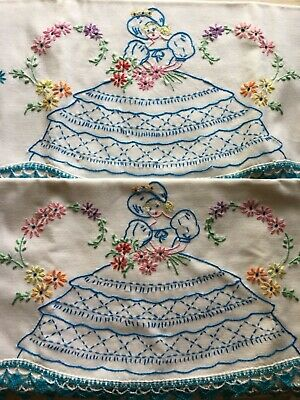 Pair vintage southern belle blue floral crochet embroidered pillow cases