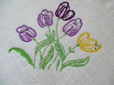 "VINTAGE TABLECLOTH HAND EMBROIDERED with SPRING TULIPS - Linen - 50""sq."