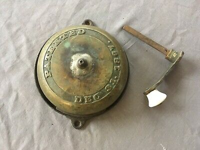 Antique Cast Iron Brass Turn Crank Handle Door Bell Old Victorian Vtg 118-19E
