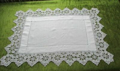 ANTIQUE BUTLERS CLOTH with BEAUTIFUL HAND CROCHET TRIM