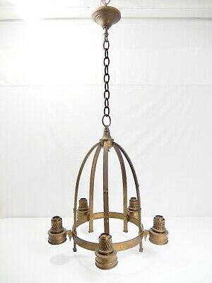 Antique -Vintage 5-Light Brass Dome-Shaped Chandelier. For Restoration. Nice