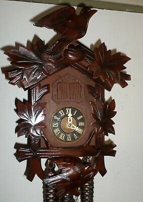 Very Nice German Black Forest Musical Hand Carved 2 Bird Nest Eggs Cuckoo Clock!