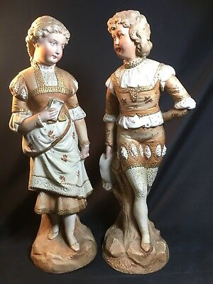 A Pair of Large Antique Rudolstadt Germany Bisque Figurines