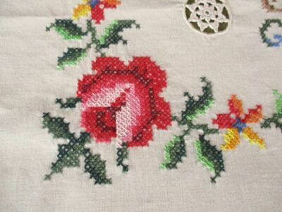 "LARGE TABLECLOTH HAND EMBROIDERY & HAND CROCHET-50""x 68""-UNUSED"