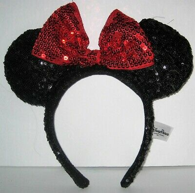 Disney Parks Minnie Mouse Black Sequin Ears Headband with Red Sequin Bow