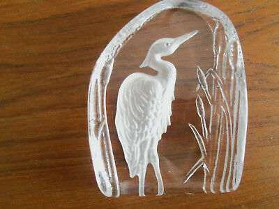 "Beautiful Vintage Heavy Glass ""Heron"" Paperweight"