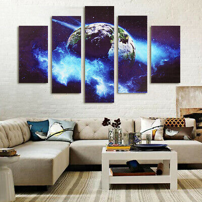 5Pcs/Set Home Wall Large Modern Planet Canvas Picture Print Decor Unframed