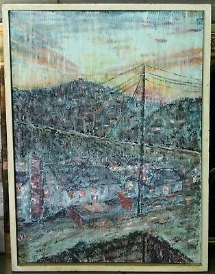 Vintage Mid-Century Modern Abstract Oil Painting