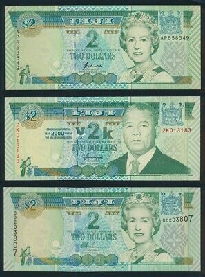 "Fiji: 1996-2002 $2 ""SET OF 3 DIFF TYPES INCL MILLENIUM"". Pick 96b-104a UNC"