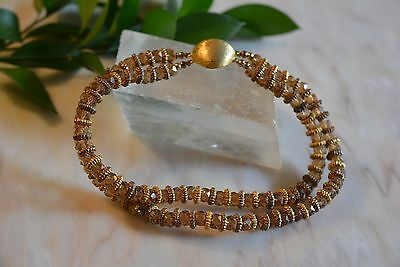 Vintage Brown Amber Color Glass Beads Necklace 1930's