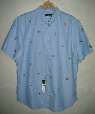 Polo Ralph Lauren embroidered oxford shirt western cowboy US flag, XXL, MSRP $89
