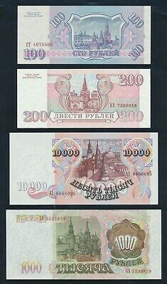 """Russia: 1992-2001 5 to 10,000 Rubles """"SET OF 6 NOTES"""". Pick 253a-268b Mostly UNC"""