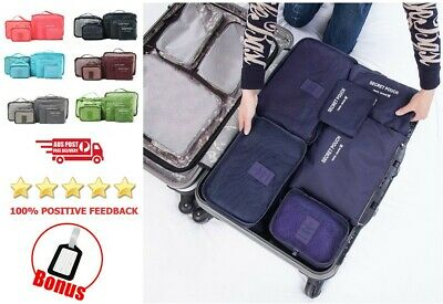AU 6PCS Travel Luggage Organiser Cube Clothes Storage Pouch Suitcase Packing Bag