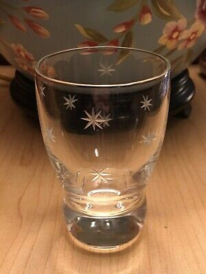 Four Lowball Old-Fashioned Rocks Glass Atomic Mid-Century Mod Etched 8 Pt Stars