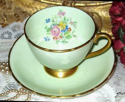 Collingwood England Pink Roses Coffee Cup & Saucer Lime Gold Bone China Teacup