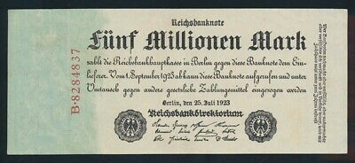 Germany: Weimar Republic 25-7-1923 5,000,000 Mark. P95 NEF - Cat UNC $47, VF $27