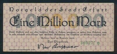 Germany: Weimar Republic ERFURT 14-8-1923 1 Million Mark. Pick Unlisted SUPERB!