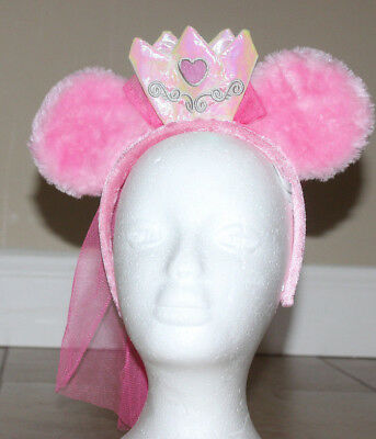 Disney Parks Store Princess Minnie Mouse Pink Crown Veil Plush Headband Ears
