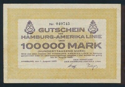 Germany: Weimar Republic HAMBURG-AMERICA LINE 1-8-1923 100,000 Mark. SUPERB!