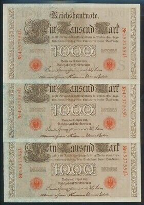 "Germany: Empire 1910 (1916) 1000 Mark ""CONSECUTIVE TRIO"". Pick 44b UNC Cat $80*"