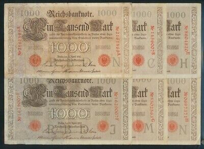 "Germany: Empire 1910 (1916) 1000 Mark ""SET OF 10 SUFFIXES"". Pick 44b F to EF"
