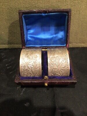 Boxed Pair Victorian Napkin Rings In Original Velvet Lined Leather Box Unmarked