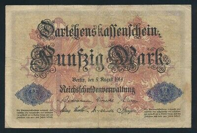 "Germany: Empire WWI 5-8-1914 50 Mk ""SCARCE 6 DIGIT SERIAL"" P49a GF - Cat VF $133"