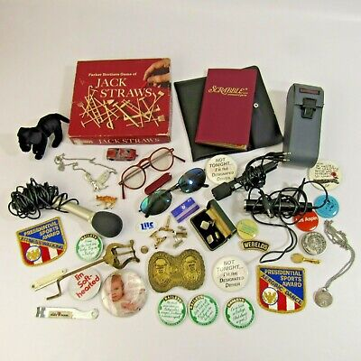 Vintage Junk Drawer Lot of Buttons Pins Collection Estate Find Cufflinks Games