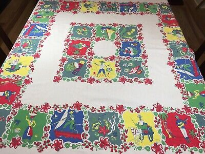 Vtg Tablecloth Caribbean Themed Colorful Souvenir Flowers Guitar Palms People