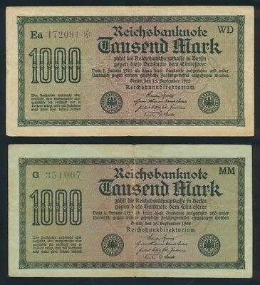 "Germany: Weimar 1922 1000 Mark SCARCE ERROR TEXT (""c"" instead of ""e""). Pick 76d"