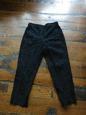 457a5979 $110 NWT J.CREW JCREW Easy Pant In Lace Black Elastic Waist Band 4 ...