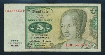 "Germany: Federal Republic 2-1-1960 5 Mark EXOTIC SERIAL NO ""3355555"". P18a F+"