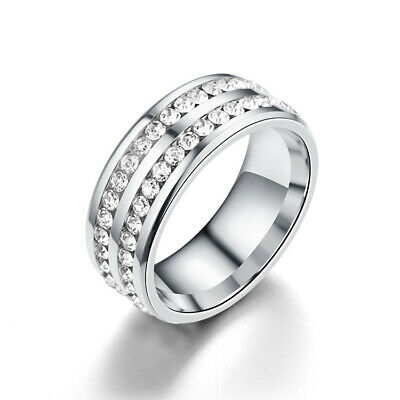 316L Stainless Steel Wedding Silver Band Men Women Couple CZ Ring Size 9