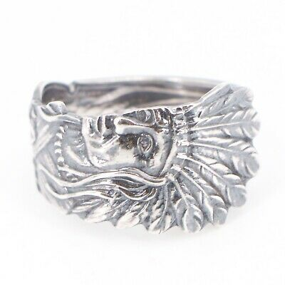 VTG Sterling Silver American Indian Chief Head Spoon Handle Ring Size 11.5 - 8g