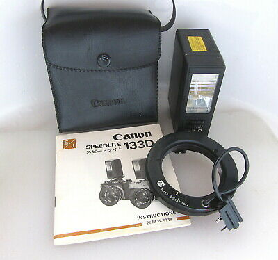 Vtg Canon 133D Flash Unit with A2 Ring, Case & Instructions, MINT but Inop, NR!