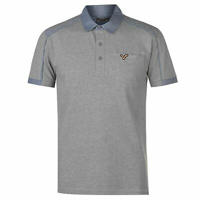 VOI Chambray Panel Polo Shirt Mens Grey Marl Collared Top Tee Small