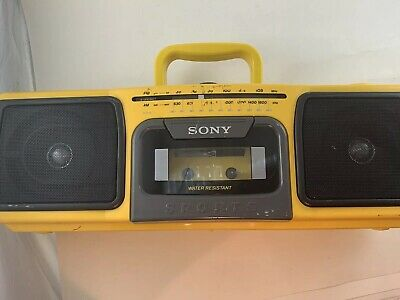 SONY SPORTS Boombox Vintage Yellow CFS-920 Portable AM/FM Radio Cassette WORKING