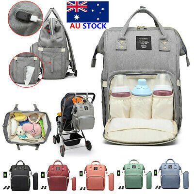 LEQUEEN Waterproof Baby Nappy Diaper Bag Mummy Maternity USB Travel Backpack AU