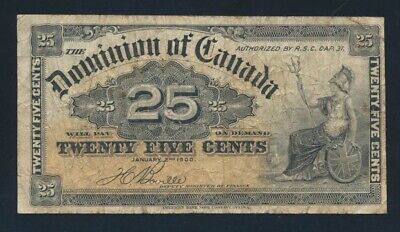 Canada: 2-1-1900 25 Cents Sig Boville. Pick 9b Fine - Cat VF $33, VG $11