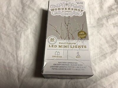 Wondershop Multicolor 20 LED Mini Lights Indoor Battery Operated New in Box