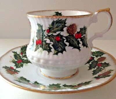 "Rosina China Co Ltd ""Queens Yuletide""  Tea Cup and Saucer Christmas"