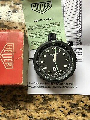 Vintage Heuer Monte-Carlo Stopwatch In Box With Instruction Booklet