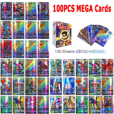 100Pcs Cards 95 GX + 5 MEGA Holo Trading Flash Card Game Bundle Mixed Lot NEW
