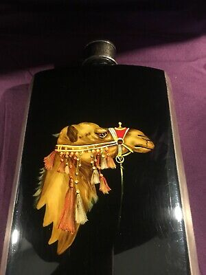 BEAUTIFUL Rare NAPIER Sterling SILVER Numbered Hand Painted CAMEL Flask ART DECO